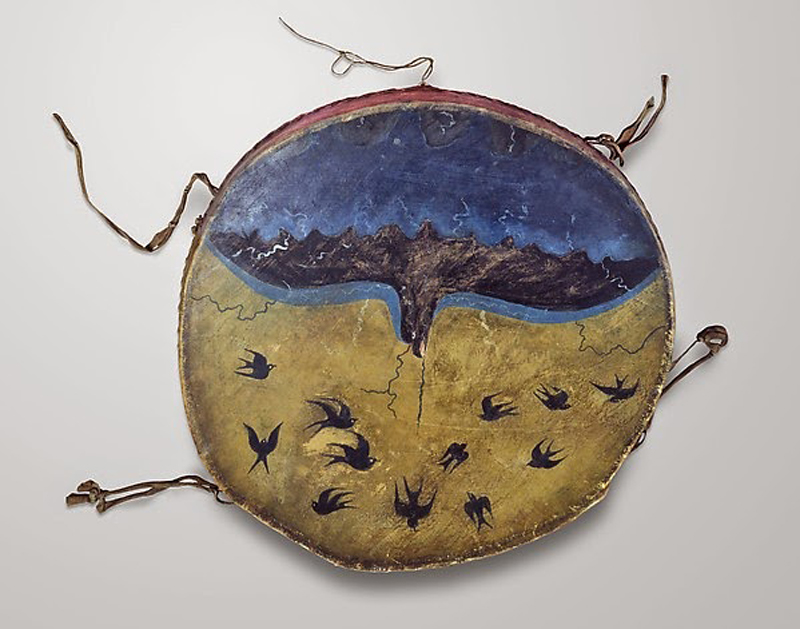 Ghost Dance Drum, c. 1891-1892. George Beaver (unknown dates), Pawnee, Oklahoma Wood, rawhide, pigment. Diameter: 23 in. (58.4 cm) Chicago (Illinois), The Field Museum of Natural History.