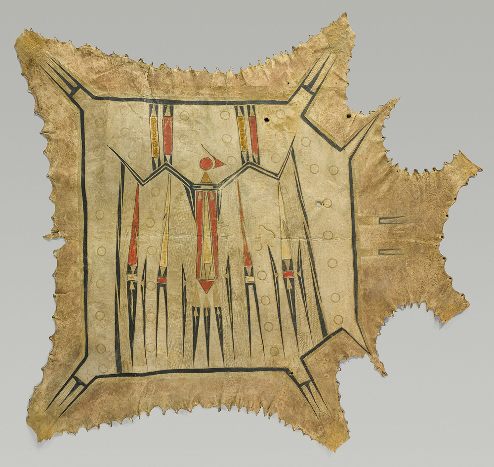 Robe with Mythic Bird, c. 1700 – 1740. Eastern Plains artist, probably Illinois, Mid-Mississippi River basin. Native tanned leather, pigment 42 3/8 x 47 7/8 in. (107.7 x 121.4 cm) Musée du quai Branly, France.