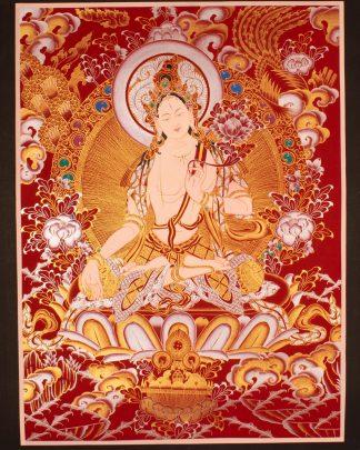 White Tara - handmade Thangka on cotton canas