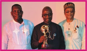 L-R: Rivers State Commissioner for Social Development and Rehabilitation, Hon Joe Poroma, Chairman, Okrika Local Government Area, Barrister Tamuno Williams and National Deputy Chairman, Peoples' Democratic Party (PDP), Dr Sam Sam Jaja, at the Excellence in Local Government Initiative 2012 Award Night RSSDA in conjunction with the Ministry of Local Government Affairs,in Port Harcourt, yesterday. Photo: Nwiueh  Donatus Ken