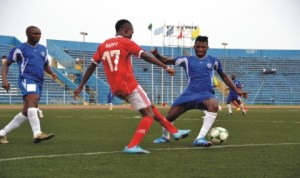 Action recorded during a first round match of the NPFL between Dolphins and Heartland and the Liberation Stadium, Port Harcourt