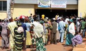 An eye test queue at Adeoyo Hospital, in Ibadan  during World Sight Day celebration, yesterday.