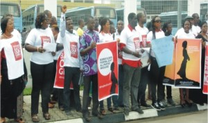 Members of the Civil Society of Niger Delta region protesting in Port Harcourt on Wednesday for the immediate release of 210 students of Borno State abducted  by Boko Haram.