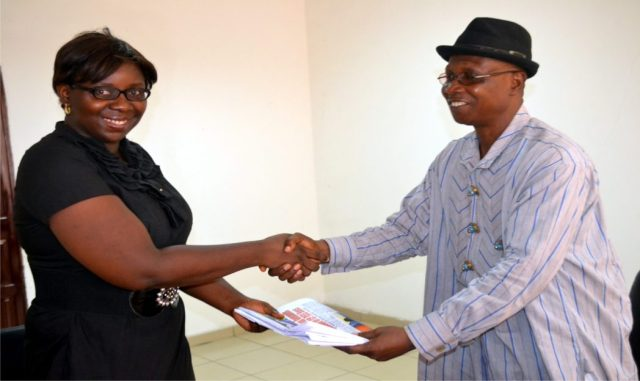Director/Deputy Editor, (Daily), Rivers State Newspaper Corporation, Mr Donald Mike-Jaja (right), who represented the General Manager,  presenting some copies of The Tide Newspaper to the President, Junior Chamber International (JCI) , Ambassador Onyinyechukwu Mbele Dogu, during a working visit to the corporation in Port Harcourt last Wednesday.
