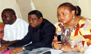 From Left: Senior Assistant General Secretary, Warri Zonal Council, NUPENG, Mr Otite Onohwowho; member, National stakeholders working group of Nigeria extractive industries transparency initiative (NEITI), Mr Bassey Ekefre and Chairperson, Neiti Civil Society Steering Committee, Ms Nwadishi Faith, at the NEITI Civil Society Steering Committee news conference on State of extractive sector in Nigeria, recently.