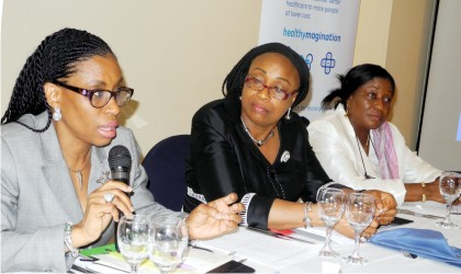 Director, Health Planning Research and Statistics, Federal Ministry of Health (FMOH), Dr Ngozi Azodoh; Director, Primary Health Care Systems Development, Dr Nnenna Ihebuzor and  Director, Hospital Services (FMOH), Dr Patience Osinubi, during an Interactive Session on Transition to Sustainable Development Goals on the Maternal and Newborn Continuum of Care in Abuja.        Photo: NAN