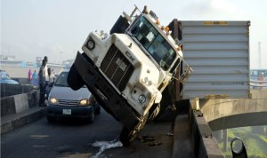 Scene of an accident at Igumu-Apapa bridge in Lagos, recently.