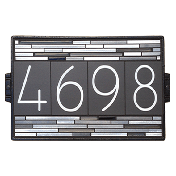 "10""x18"" Black Aluminum House Number Sign"