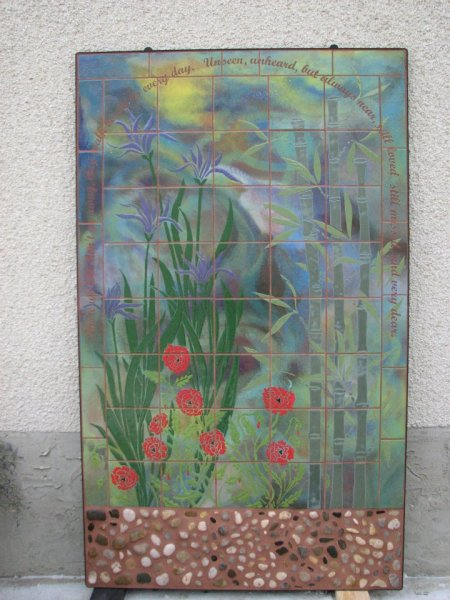This gorgeous outdoor mural now sits behind a customer's backyard pond!