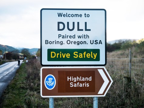 The road sign in Dull, Perthshire, has become something of a tourist hotspot