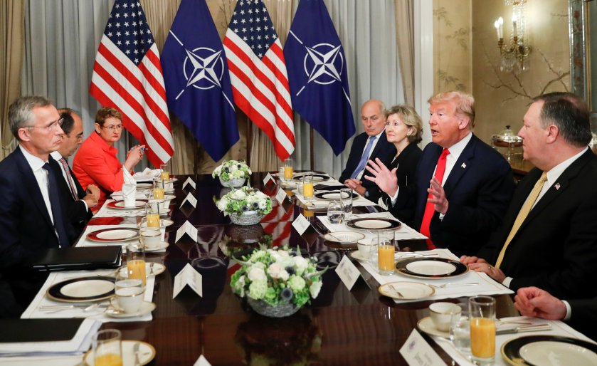Image result for images of President Trump and Jens Stoltenberg NATO General Secretary at breakfast