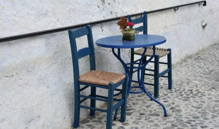 Chairs and little table, Pyrgos. Santorini