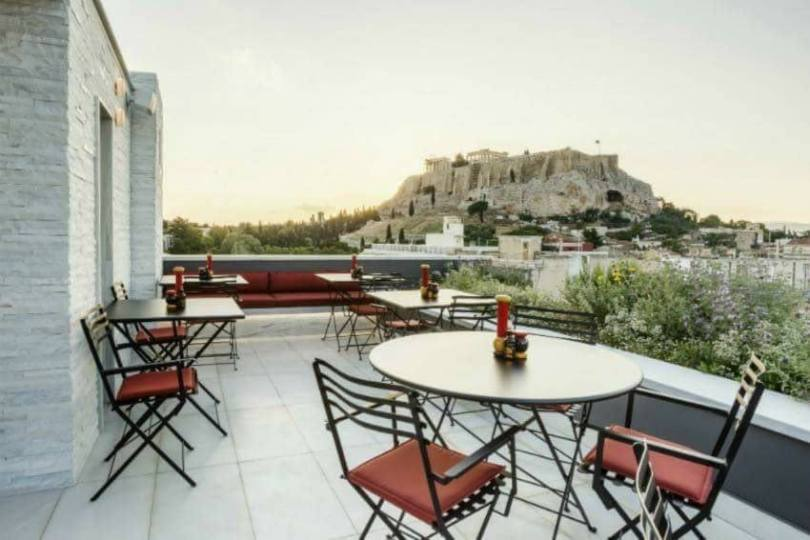 The modern vs the ancient: gorgeous view of the Acropolis from the rooftop of Modern Restaurant, AthensWas.