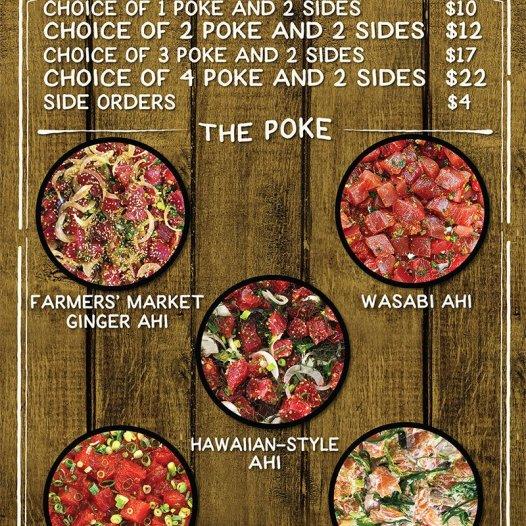 The menu of Poke n Sides