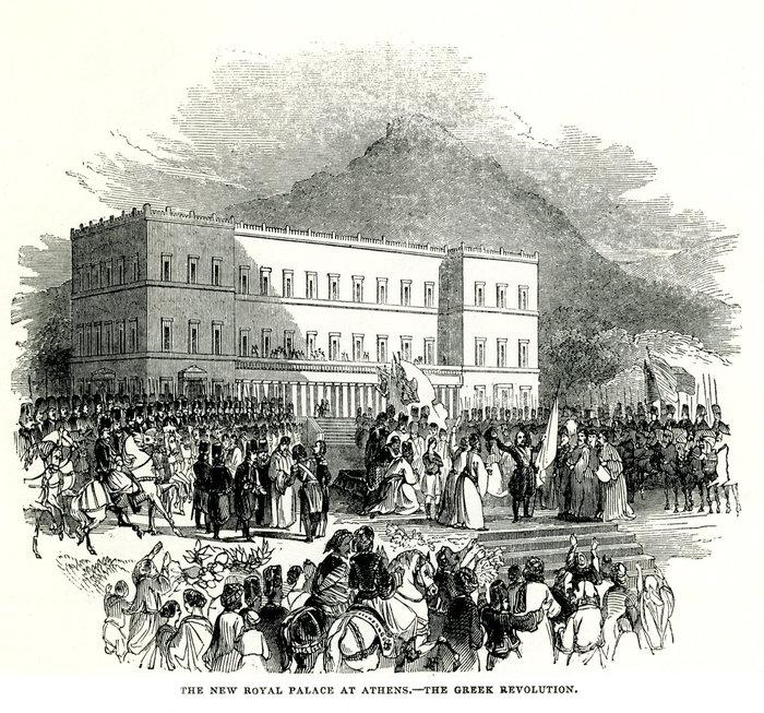 Η επανάσταση της 3ης Σεπτεμβρίου 1843: Πλήθος εξεγερμένων Ελλήνων συγκεντρώνεται μπροστά από τα Βασιλικά Ανάκτορα (σήμερα Βουλή των Ελλήνων) ζητώντας Σύνταγμα.