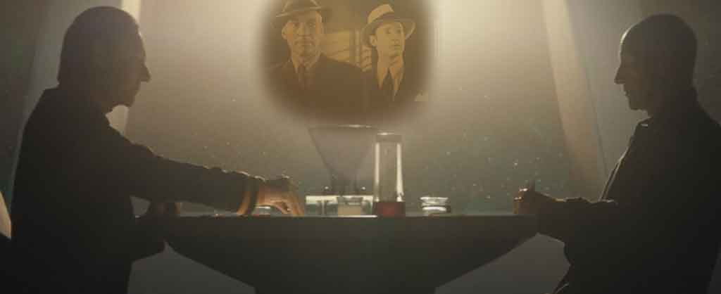 "Picard and Data play poker in 10 Forward. with an image of the two characters from a ""Dixon Hill"" episode of ST:TNG superimposed in background."