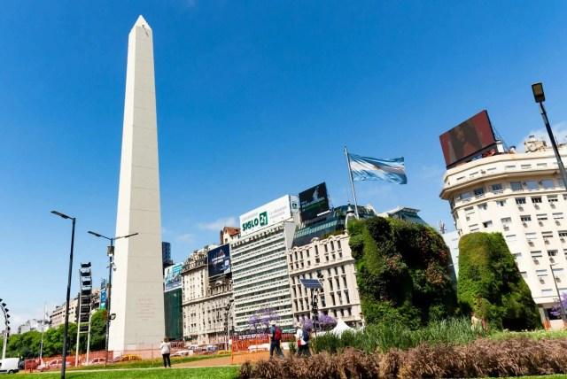 Av. 9 de Julio avenue and the Obelisk in Buenos Aires