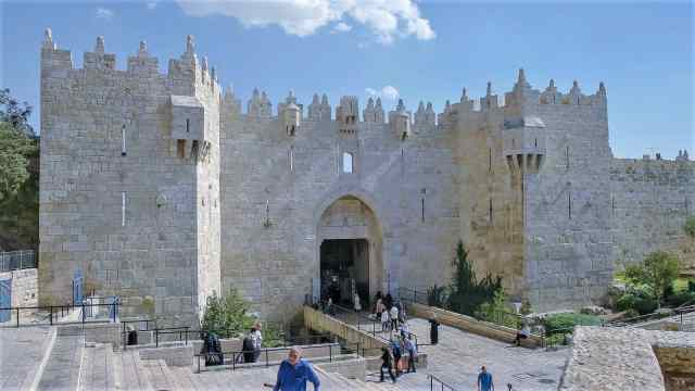 Damascus Gate in the old city in Jerusalem, old city jerusalem gates, القدس