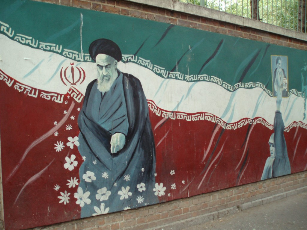 A painting of Ayatollah Ruhollah Khomeini on the walls outside the former American embassy in Tehran. Photo: David Holt / flickr