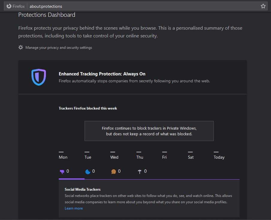 Firefox Tracker Protection