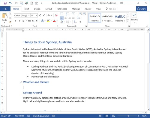 Embed Excel in a Word Document