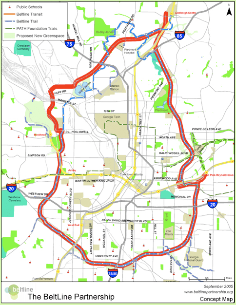 The Beltline Atlanta Map.Atlanta Beltline Lrt Progress In Question The Transport Politic