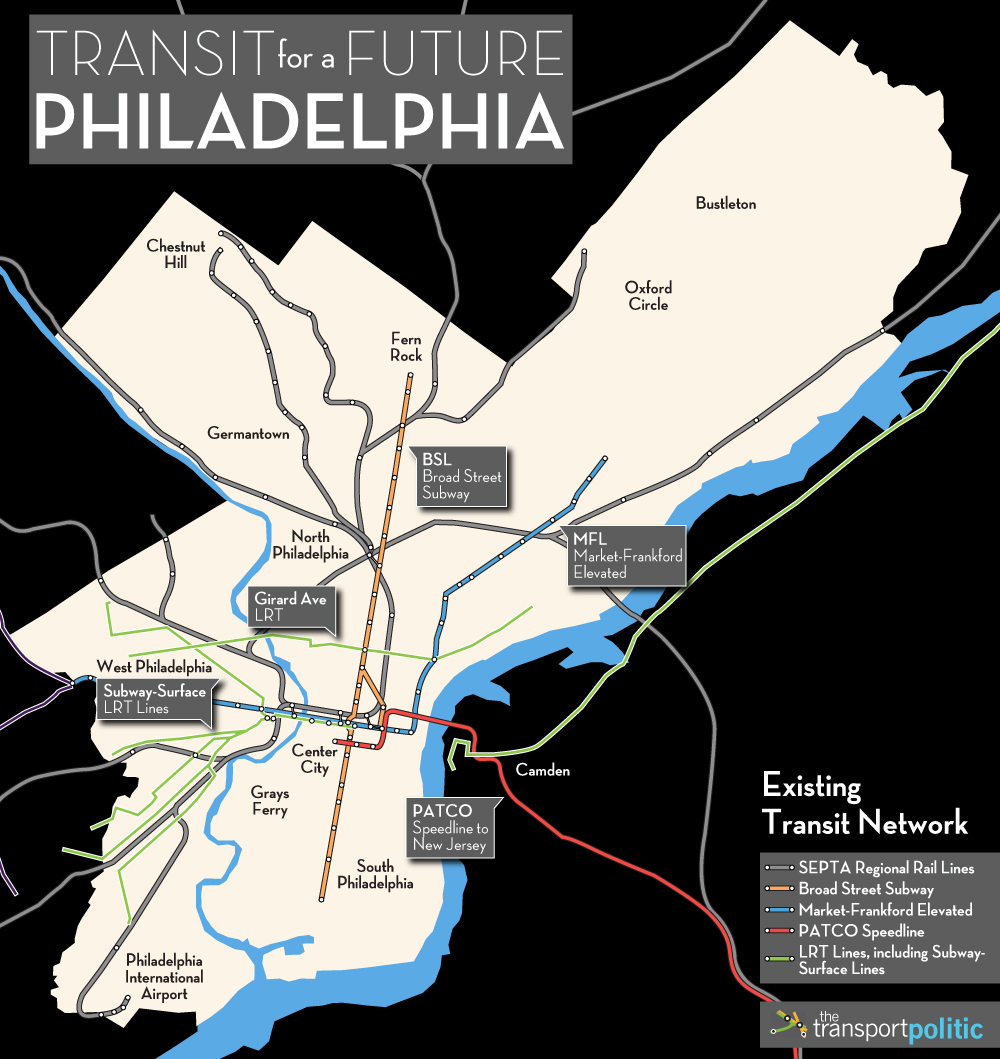 Philly Subway Map.Transit For A Future Philadelphia The Transport Politic