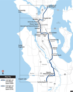 Seattle Central Link Light Rail Map