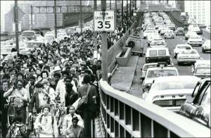 1980 New York Transit Strike - Pedestrians Crossing into Brooklyn