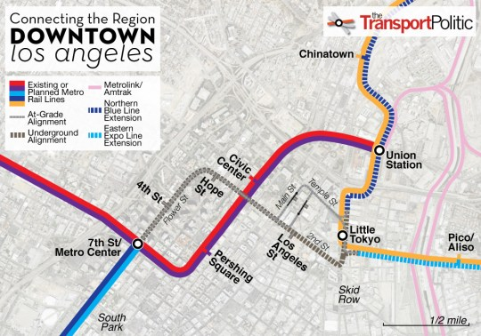 Downtown Los Angeles Regional Connector Map