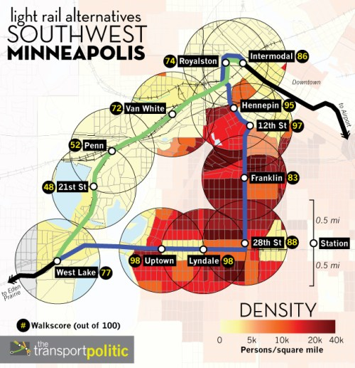 Density along Southwest Minneapolis Light Rail Alternative Routes