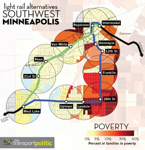 Poverty Rates along Southwest Minneapolis Light Rail Alternative Routes