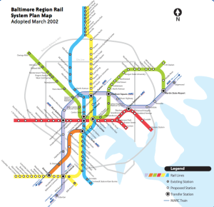 Planned Baltimore Transit System Map