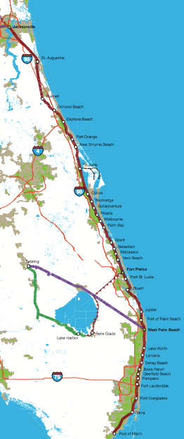 Florida East Coast Railway Studied For Potential Intercity And - Florida east coast map
