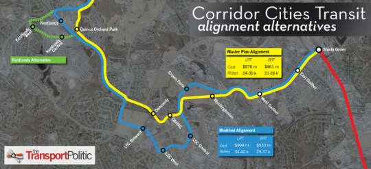 Corridor Cities Transitway Alignment Alternatives Map