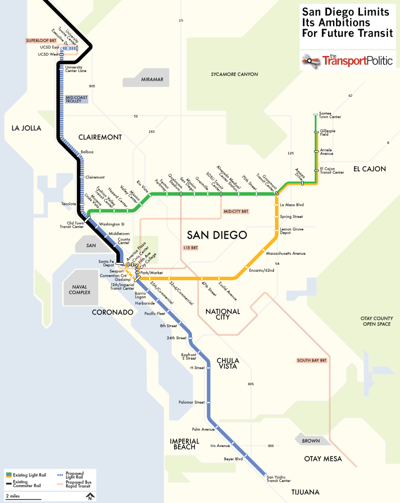 san diego plans extension to its trolley network mostly skipping over inner city the transport politic