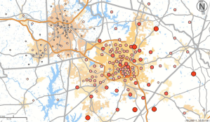 Home locations of people who work in downtown Raleigh