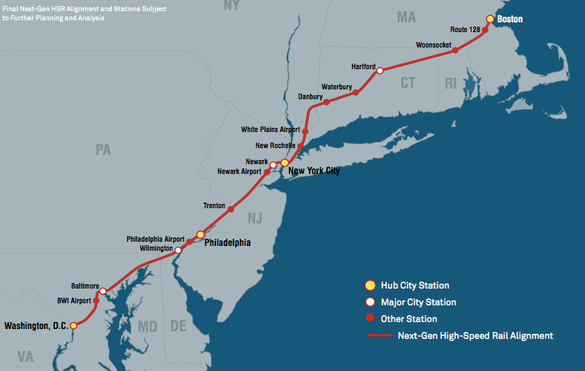 Amtrak Unveils Ambitious Northeast Corridor Plan, But It ... on map of amtrak stations salt lake city, map of house of blues in boston, map of amtrak stations florida, map of amtrak stations washington, map of amtrak stations ny, map of airports in boston, map of amtrak stations texas, map of subway stations in boston, map of train stations in boston,