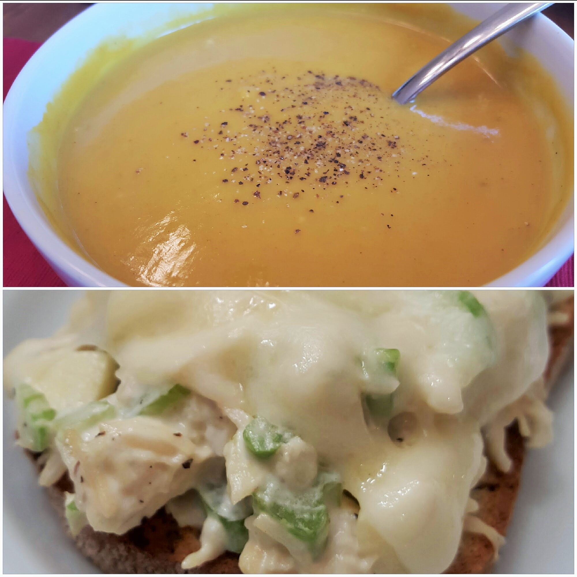 Curry Butternut Squash Soup with Havarti Apple Chicken Salad Melts