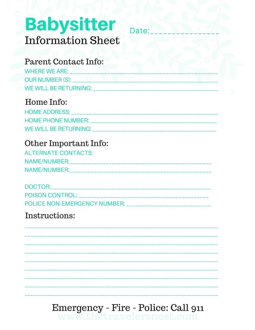Free Printable: Babysitter Info Sheet