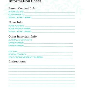 free printable babysitter info sheet