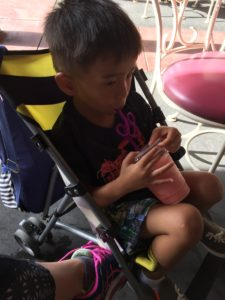 Tyler in stroller at Disney World