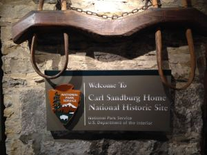 Entrance sign to Carl Sandburg Home