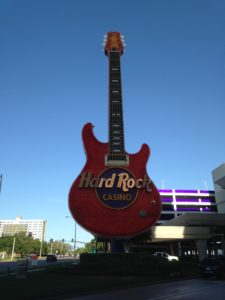 Famous Hard Rock Guitar outside the hotel
