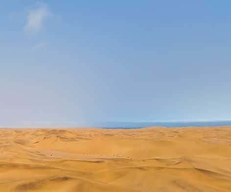 Desert dunes looking out to the ocean