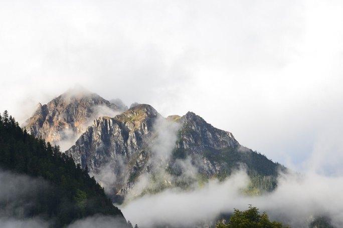 Himalayas shrouded in fog