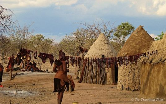 Himba village hanging meat to dry drying || visit Namibia | things to do in Namibia