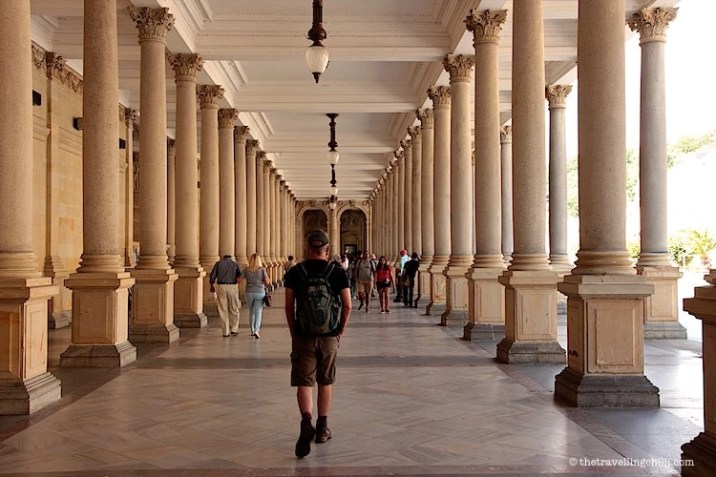Walking through the Mill Colonnade in Karlovy Vary Carlsbad