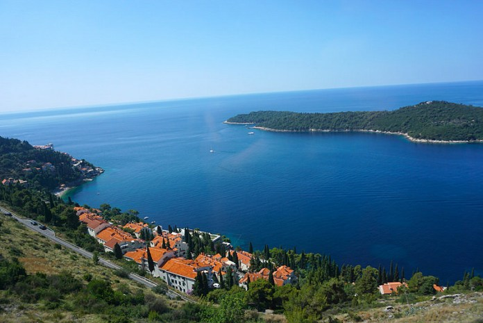 Just one of the several communities in the cliff side along Dalmatian Coast. Taken from a running bus.