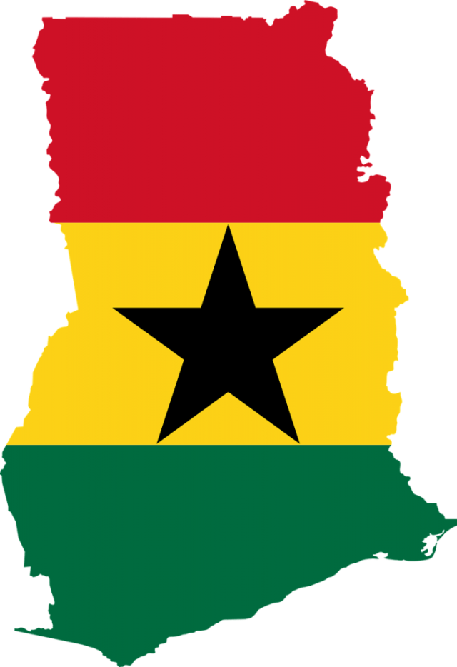 Ghana map and flag colours